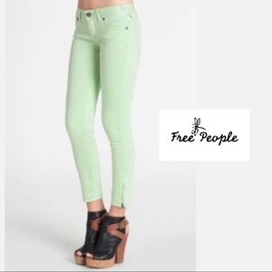 Free People Lime Green Zipper Ankle Jeans